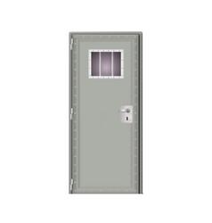 Modern gray door prison behind bars in jail vector