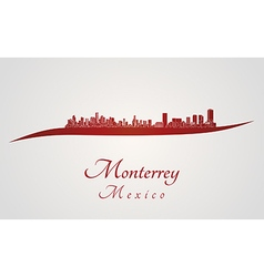 Monterrey skyline in red vector