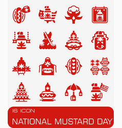 National mustard day icon set vector