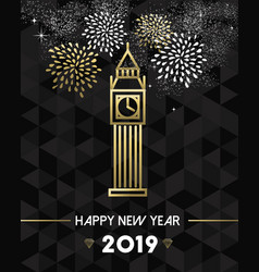 new year 2019 london uk europe travel gold vector image