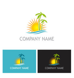 palm tree sunset beach logo vector image