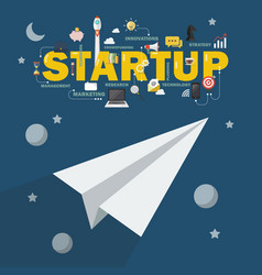 paper rocket in space business startup concept vector image