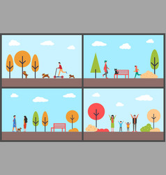 people having fun in autumn park family days vector image