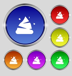 Poo icon sign Round symbol on bright colourful vector