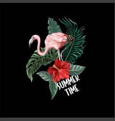 print for t-shirt with flowers and flamingo vector image