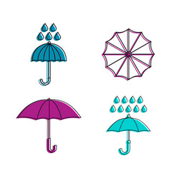rain umbrella icon set color outline style vector image