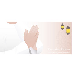 ramadan kareem with muslim man praying vector image