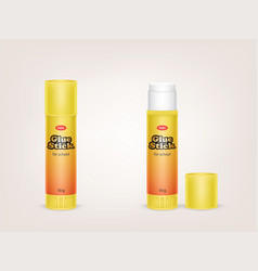 realistic yellow tubes of glue stick vector image