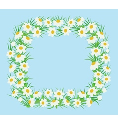 Rectangular frame of white flowers in a flat style vector