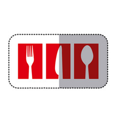 red symbol cutlery food icon vector image