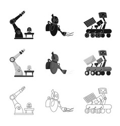 Robot and factory icon set vector