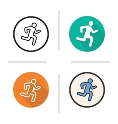 Running man flat design linear and color icons vector