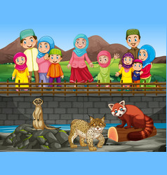 scene with people looking at animals at zoo vector image
