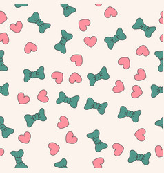 seamless pattern with red hearts and bow vector image