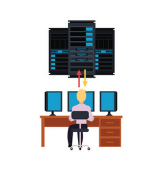 server room and it engineer working pc vector image
