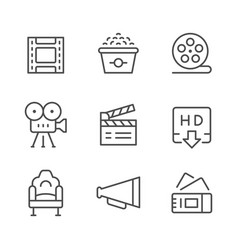 Set line icons of movie vector