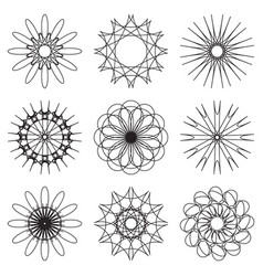 set of contour spirographic symbols vector image