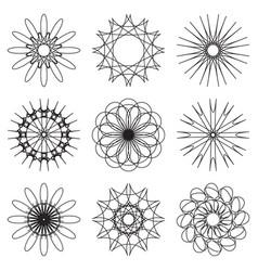 Set of contour spirographic symbols vector
