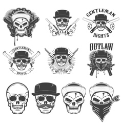 Set of the stickers with gangster skulls and vector image