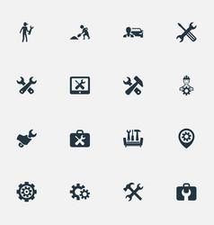set simple repairing icons vector image