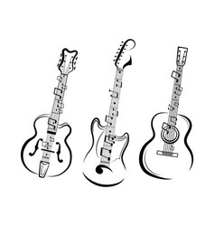 set stylized guitars collection electric vector image
