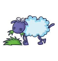 Sheep eating grass cartoon vector image