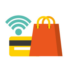 Shopping bag and bank card wireless nfc payment vector