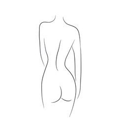 Silhouette of a female figure lines vector