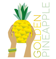 simple laconic pineapple fruit in woman hands vector image
