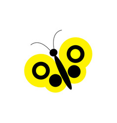 simple yellow butterfly vector image