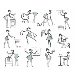 Sketches of silhouettes of girls vector image