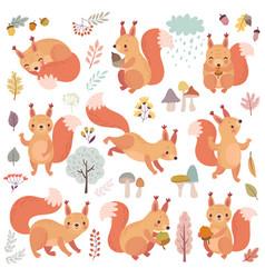 Squirrel set hand drawn style cute woodland vector