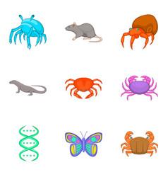 Study fauna icons set cartoon style vector