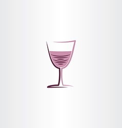 stylized wine glass rose icon vector image