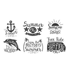 summer time retro labels set enjoy holidays vector image