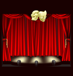 Theatre stage with masks vector