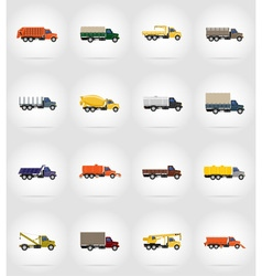Truck flat icons 17 vector