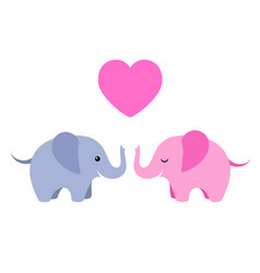 two cute elephants with heart isolated on white vector image