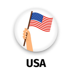 Usa flag in hand round icon vector