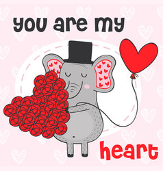 valentine elephant with heart of flowers vector image