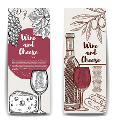 Wine and cheese banner templates design elements vector