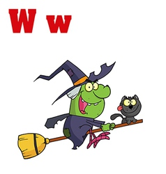 Witch cartoon with letter vector