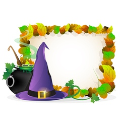 Witch hat and cauldron on autumn leaves background vector image