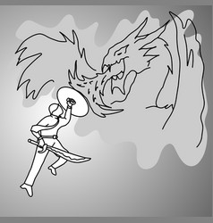 businessman fighting a dragon vector image