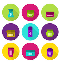 cosmetic jars flat icon set vector image vector image