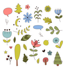 forest elements in cartoon style vector image