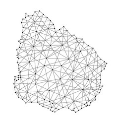 Map of uruguay from polygonal black lines and dots vector