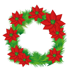 realistic color crown with poinsettia christmas vector image
