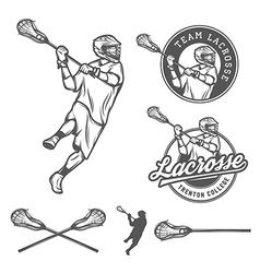 Set of lacrosse design elements vector image vector image