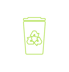 green recycle bin linear icon vector image